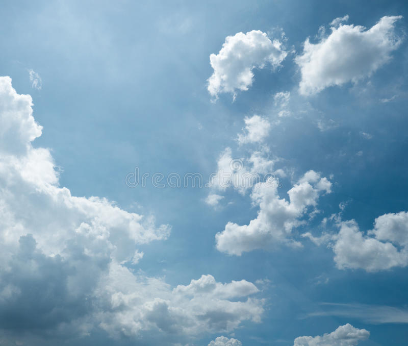 Amazing Cloud Photography: Blue Sky With Amazing Clouds Background. Shape Independent