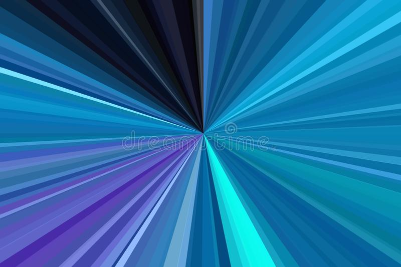 Blue sky, aquamarine, blue-green, sea-green, turquoise color rays of light abstract background. Stripes beam pattern. Stylish illu stock illustration