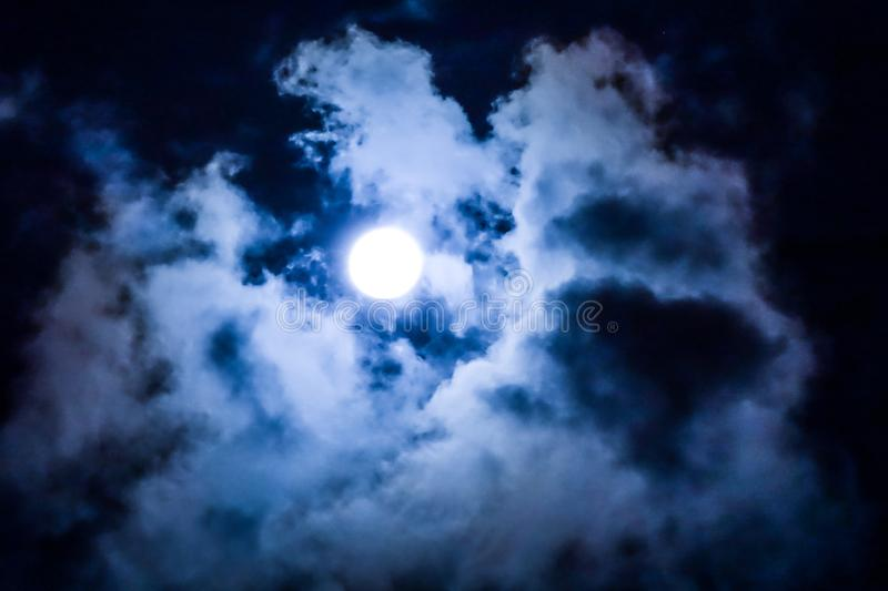 Blue Sky around the moon on the city royalty free stock photo