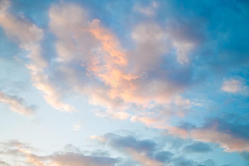 Blue sky background with clouds. Beauty of nature. stock image