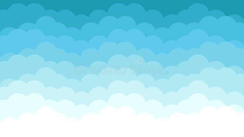 Blue Sky Background with Clouds. Can be for holiday themes, or summer, flat, blue, and bright royalty free illustration
