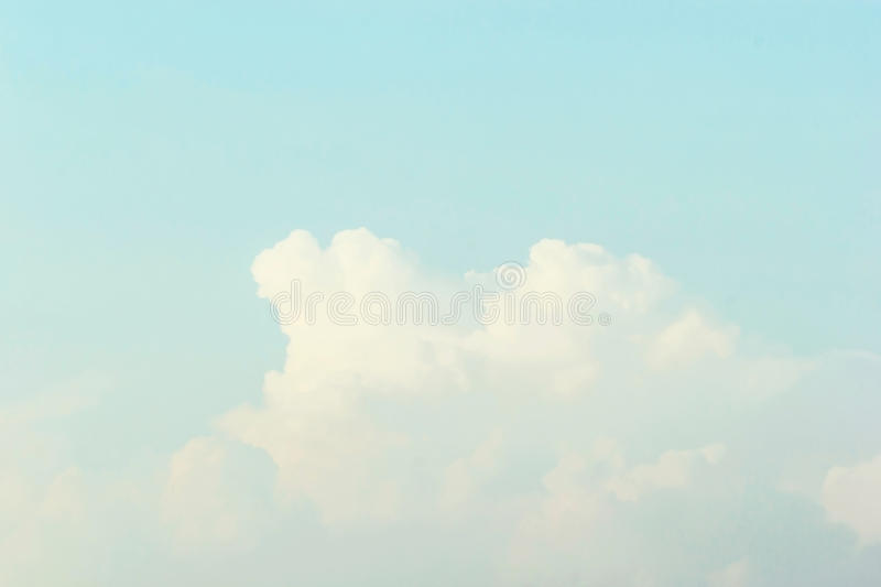 Blue sky background , Soft Pastel Tone Effect.  stock image