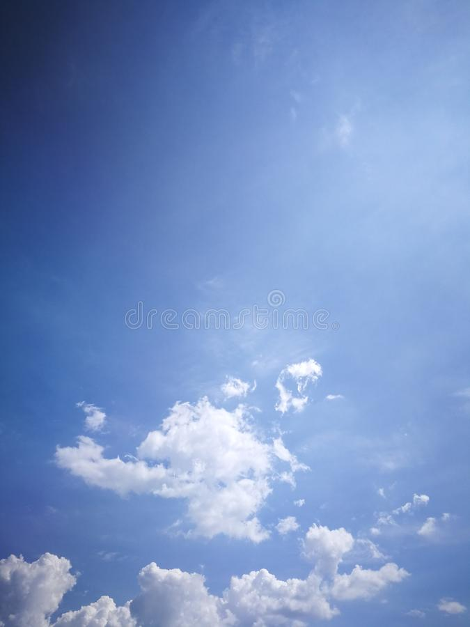Blue sky background and white clouds soft focus. And copy space royalty free stock image