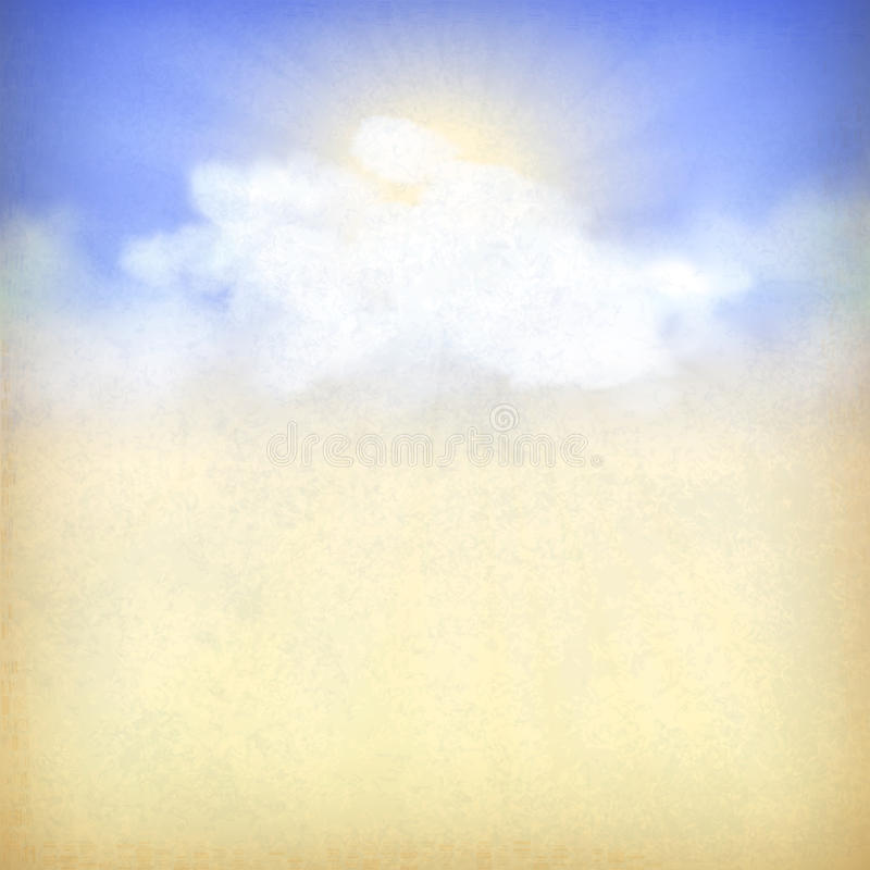 Blue sky background with white clouds and sun royalty free illustration