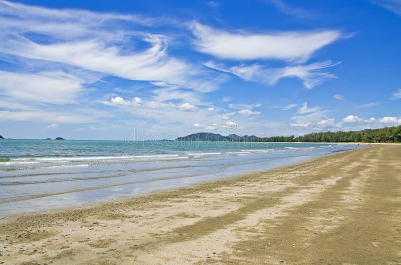 Blue sky with The beach. Blue sky and sand on The beach stock photo