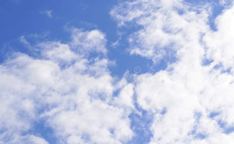 Blue sky beautiful soft white clouds . Outdoor nature landscape background - image. God, heaven, photo, weather, bright, summer, view, high, environment royalty free stock images
