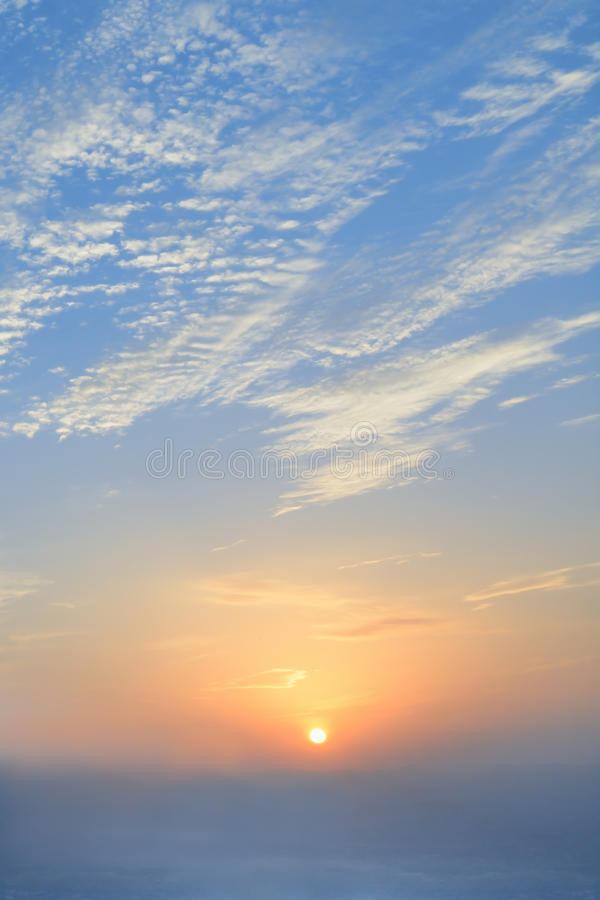 Blue sky and beautiful sun rise in morning time.  royalty free stock image