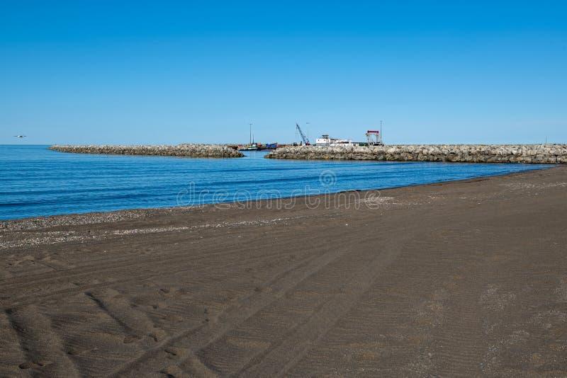 Blue Sky and Bering Sea. The Bering Sea on the coastline of Nome Alaska stock image