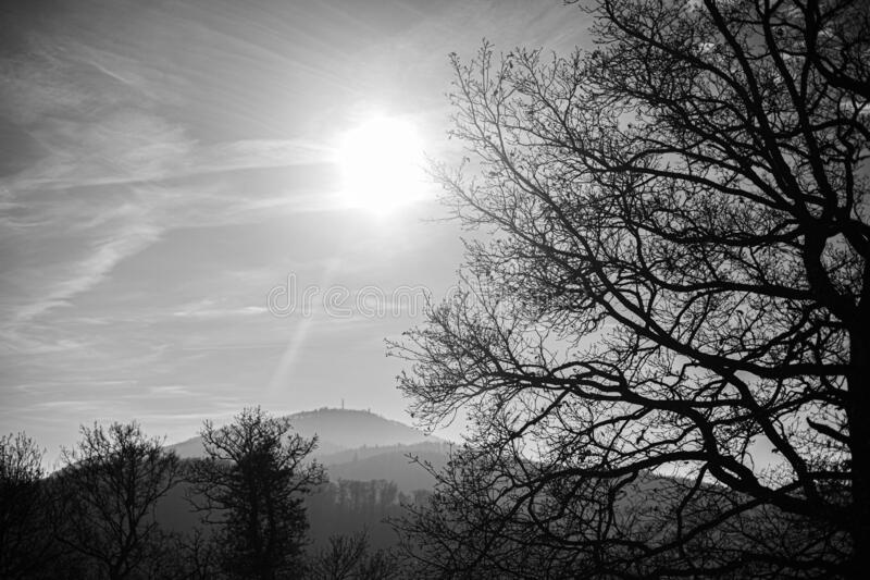 blue sky in black and white royalty free stock photos