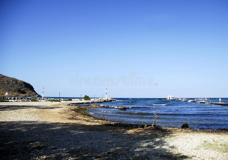 Blue sky and blue sea in crete royalty free stock images