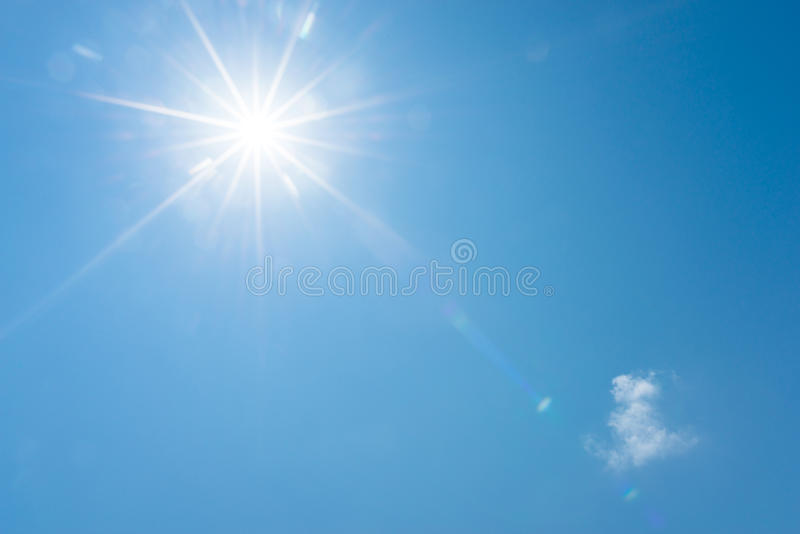 Blue sky and bright sun royalty free stock images