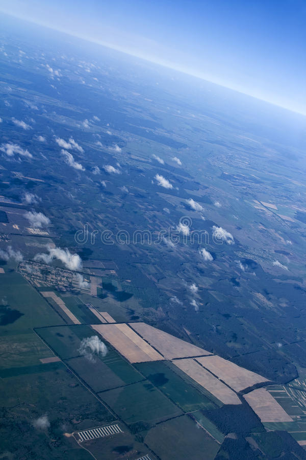 Blue sky with brightly atmosphere. Blue sky with the brightly expressed atmosphere on height of 5000 m above Earth stock photos