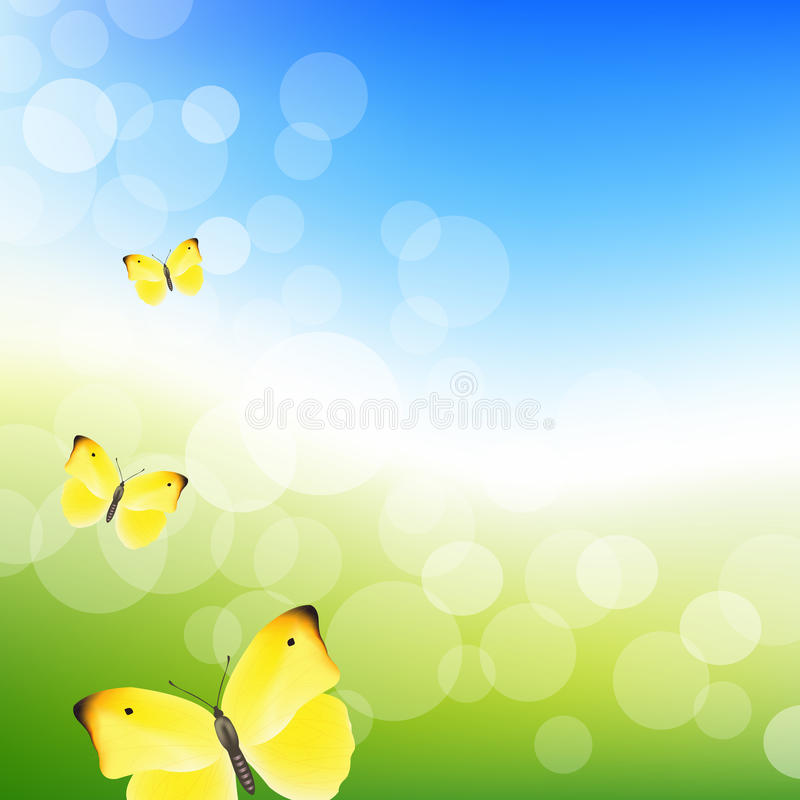 Blue Sky And Butterfly royalty free illustration