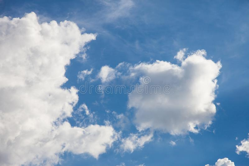 Blue sky with cloud. Air, background, beautiful, beauty, bright, climate, clouds, color, day, heaven, high, light, meteorology, nature, outdoor, outdoors royalty free stock image