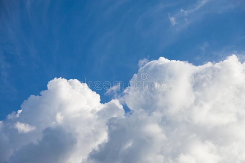 Blue sky with cloud. Air, background, beautiful, beauty, bright, climate, clouds, color, day, heaven, high, light, meteorology, nature, outdoor, outdoors royalty free stock photo
