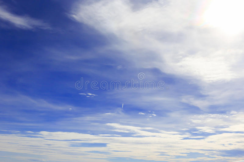 Blue sky with cloud closeup royalty free stock photo