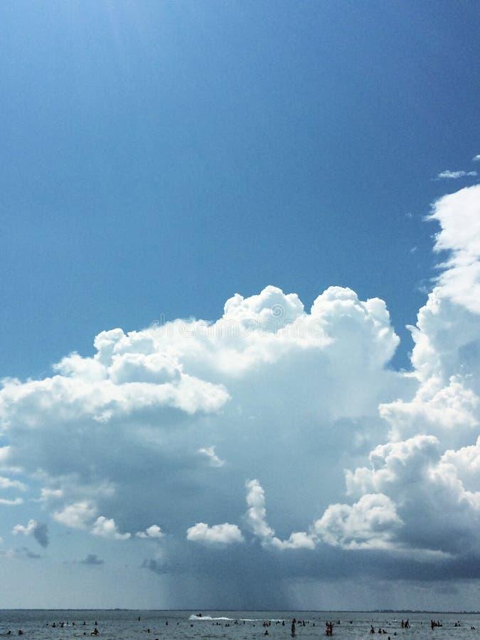 Blue sky with cloud cumulus clouds before thunderstorm. Blue sky with cloud closeup cumulus clouds before thunderstorm royalty free stock images