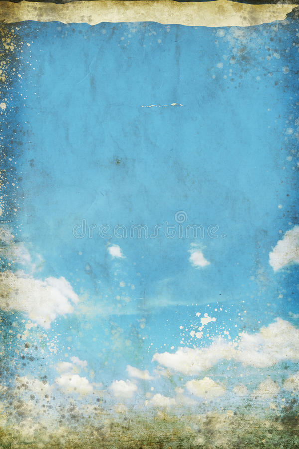 Blue sky and cloud on old grunge paper stock illustration