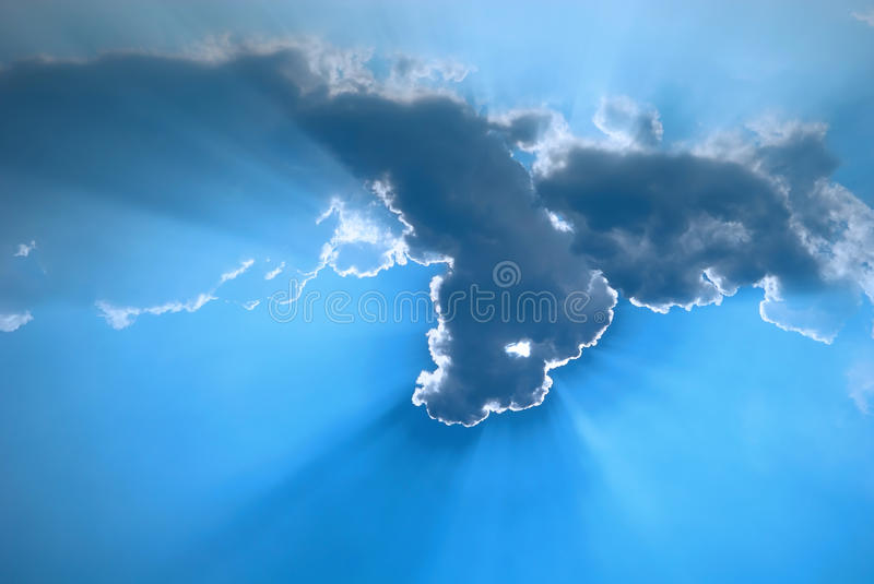 Blue Sky Cloud and Rays royalty free stock photo