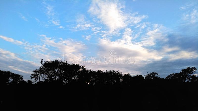 Blue sky with cloud and shadow of the trees. stock image
