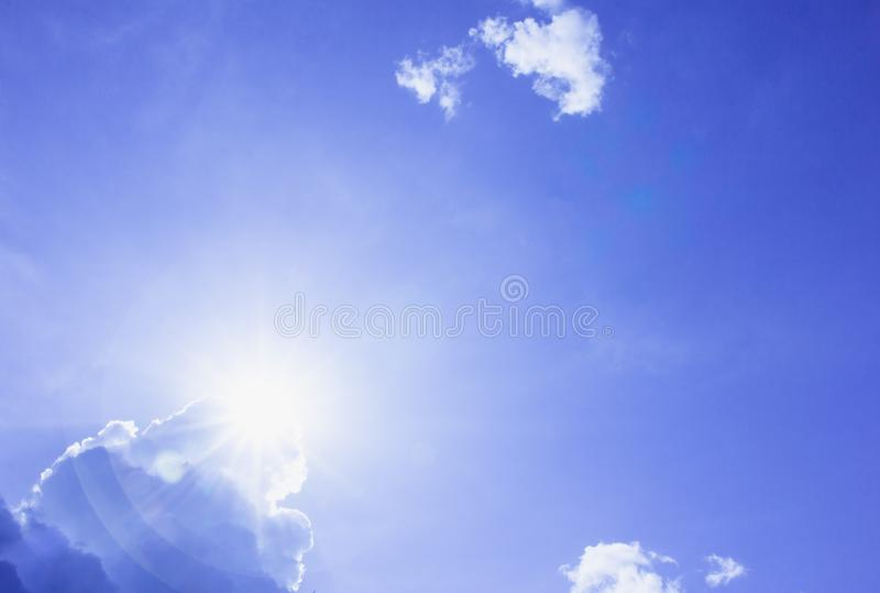 Blue sky and cloud, the sun royalty free stock photo