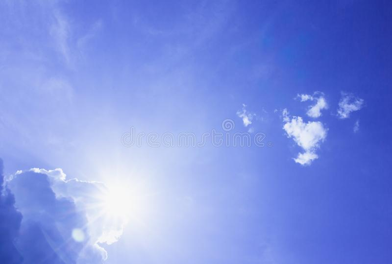 Blue sky and cloud, sun shy stock image