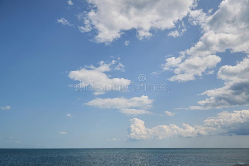 Blue sky with cloudover the sea, nice weather. Blue sky with cloud, nice weather stock image