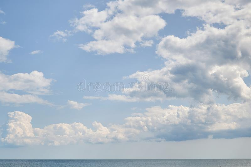 Blue sky with cloudover the sea, nice weather. Blue sky with cloud, nice weather stock photography