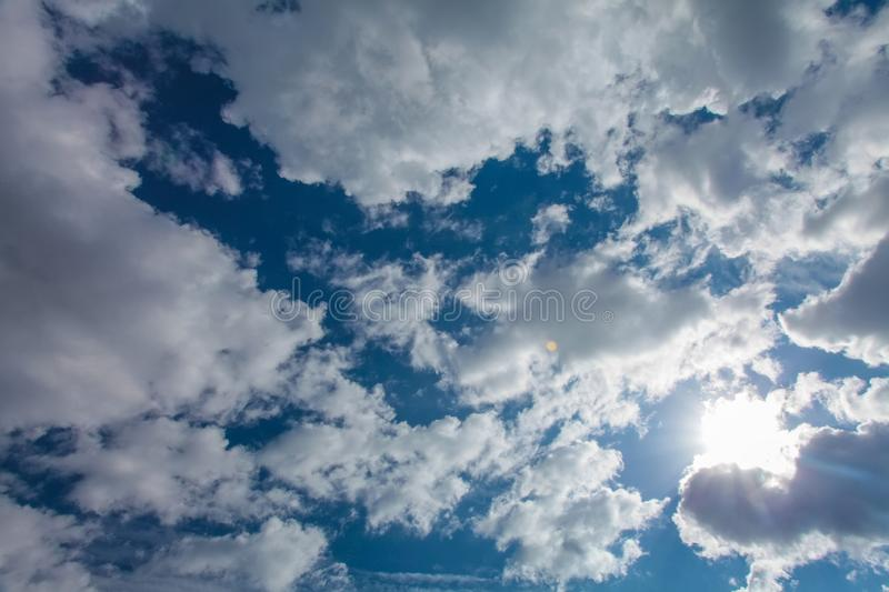 Blue sky clouds background. Beautiful landscape with clouds on sky.  stock image