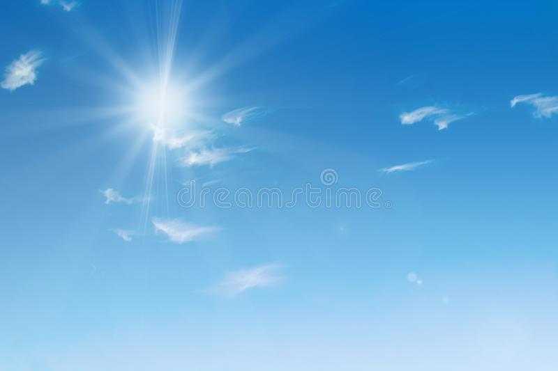 Blue sky with clouds background. Beautiful white fluffy clouds on a light blue sky background. Clearing day and Good weather in stock photography