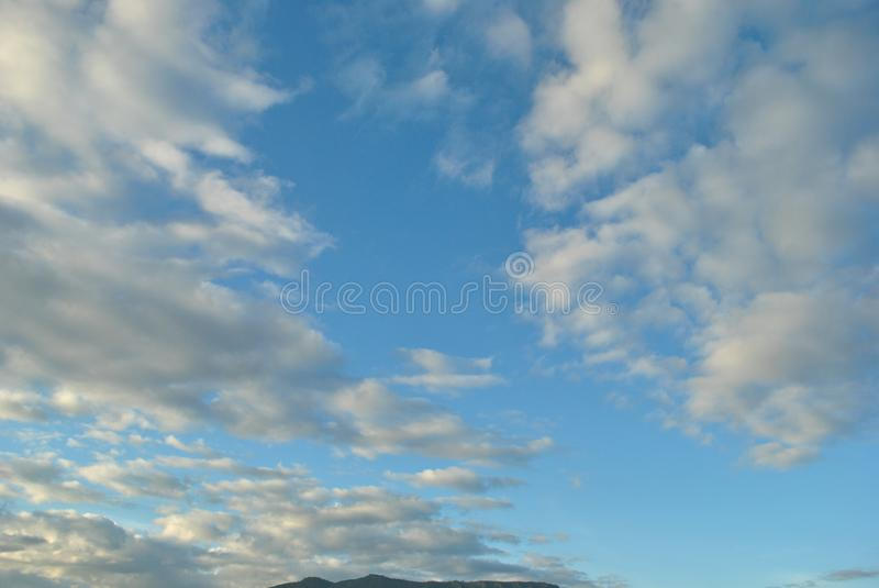 Blue sky with clouds, sky background stock images