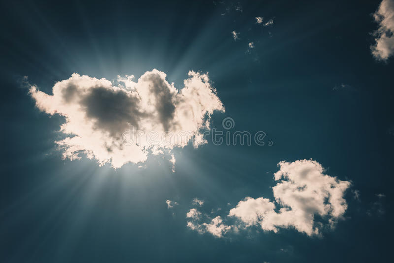 Blue sky with clouds close-up stock photography