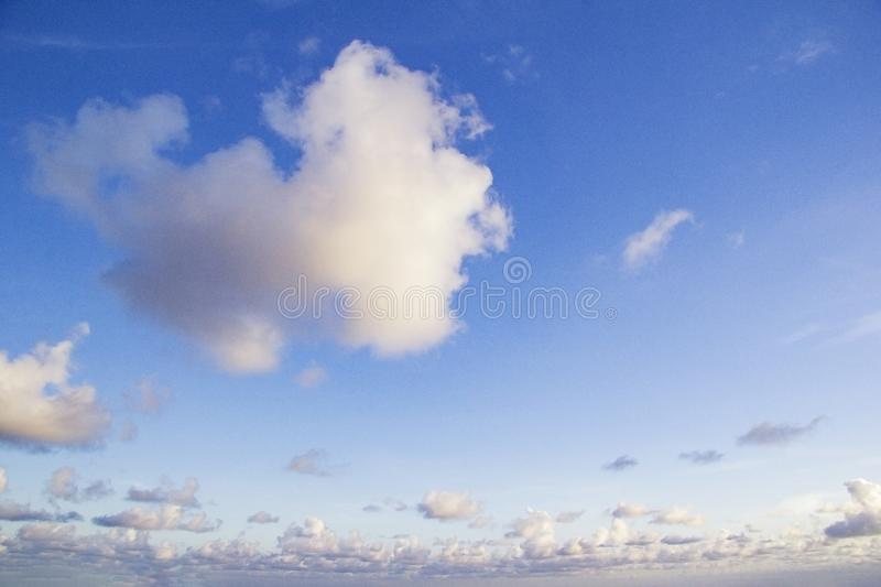Blue sky with clouds, horizon clouds with blue sky. For texture or background royalty free stock photos