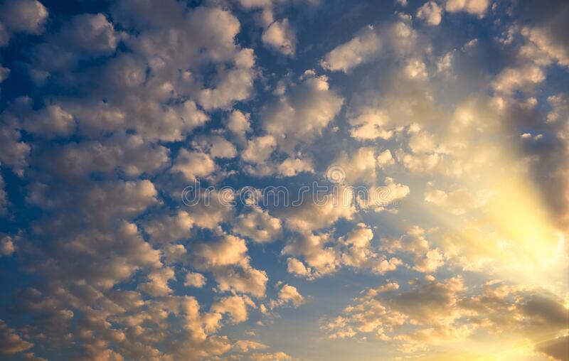 Blue sky with clouds in the morning. Backgound of blue sky with clouds in the morning stock photo