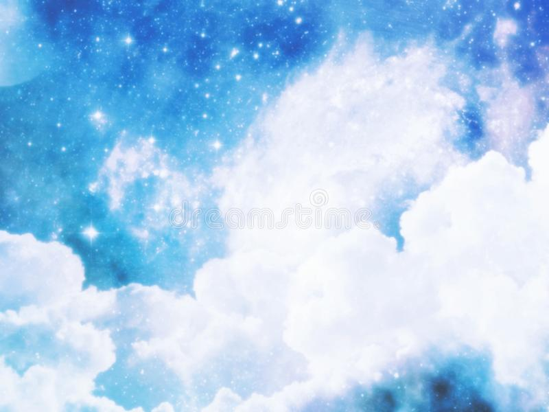 Blue sky with clouds in the morning. Blurred style. Blue sky clouds morning blurred style space weather new print creating wallpaper backdrop color fly air group stock illustration