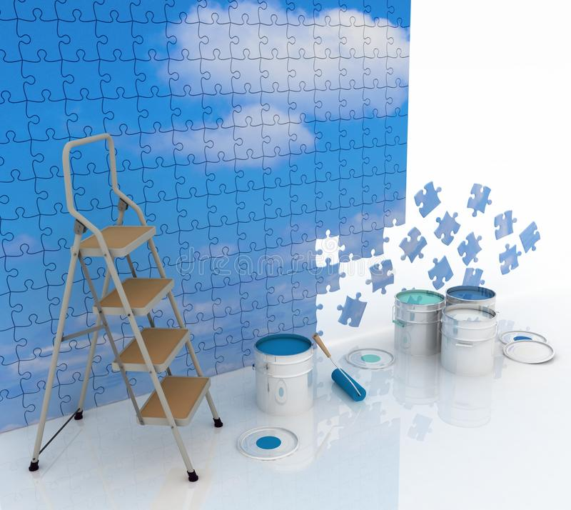 Download Blue Sky With Clouds, Painted In Bright Colors Stock Illustration - Illustration of puzzle, nature: 28813625
