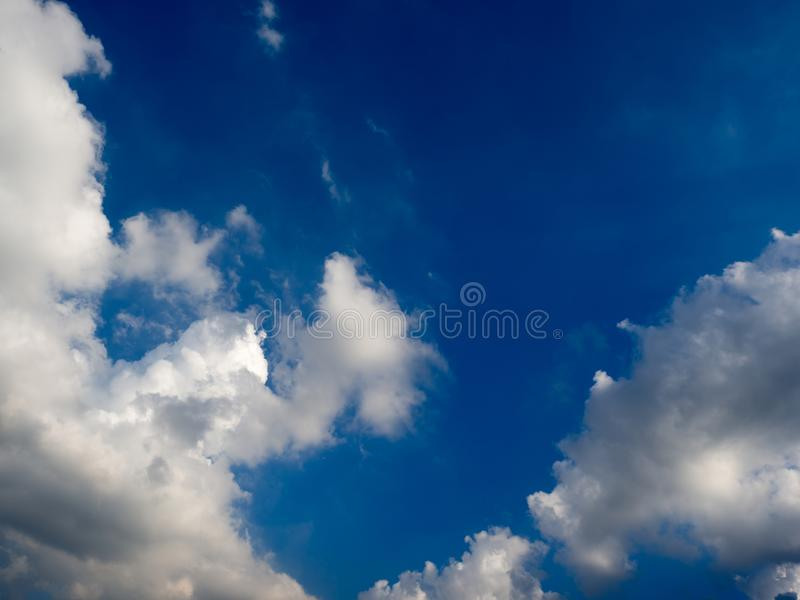 Blue sky with clouds and rain clouds before the storm coming royalty free stock photos
