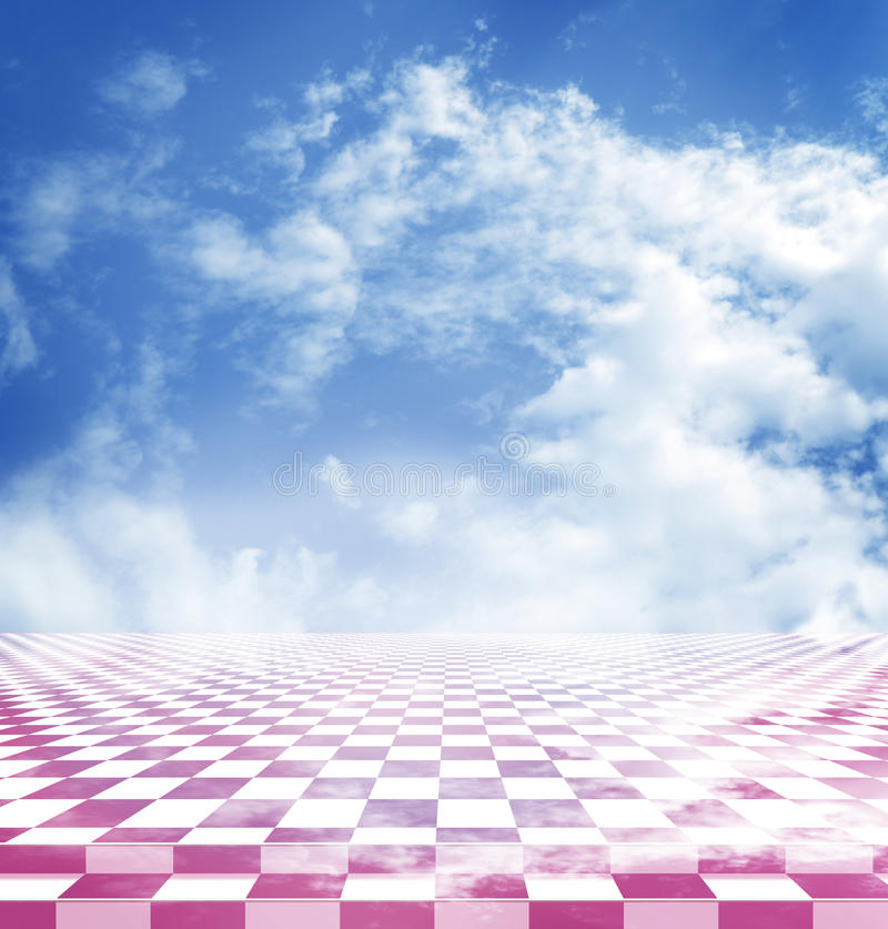 Blue sky with clouds reflected in the pink abstract fantasy checkerboard floor stock illustration