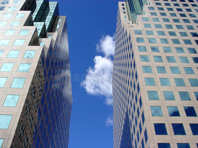 Blue sky and clouds reflection royalty free stock photo