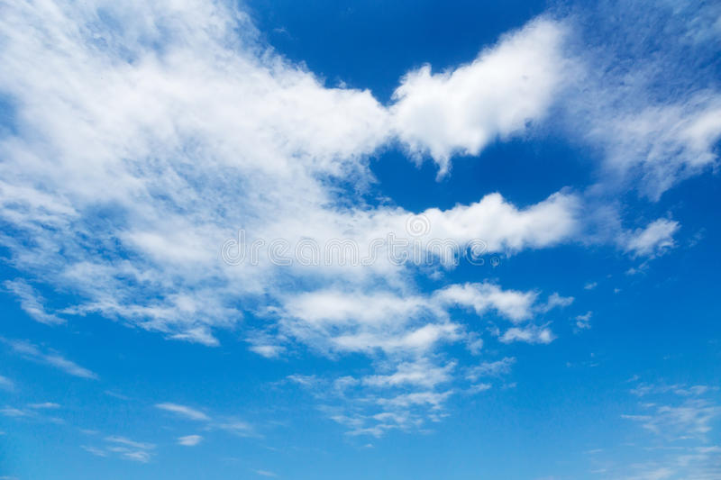 Blue sky with clouds. Blue sky with soft white clouds stock photos