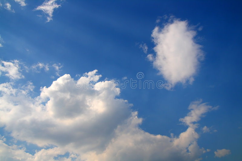 Blue Sky With Clouds And Sun Rays Stock Images