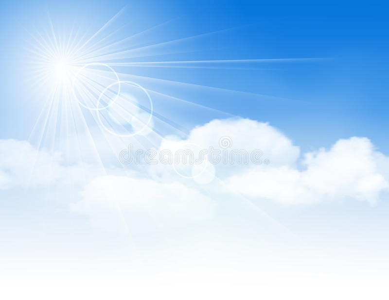 Blue sky with clouds and sun. royalty free illustration