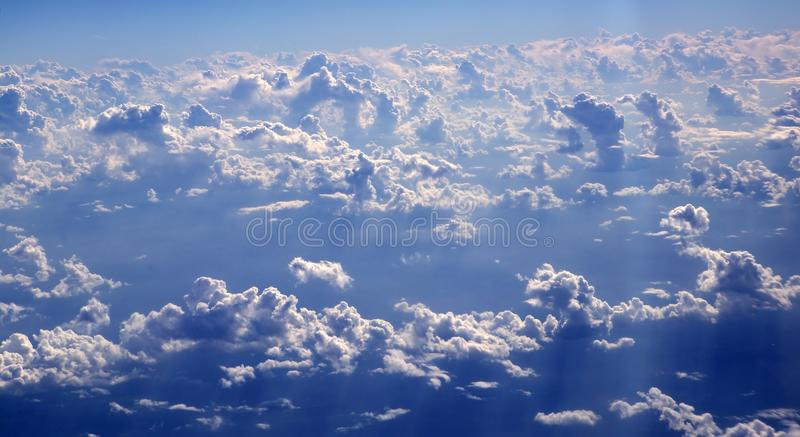 Blue sky clouds view from aircarft airplane royalty free stock photos