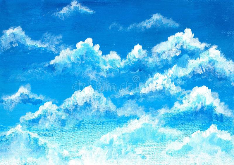 Blue sky and clouds watercolor illustration background, acrylic. Painting stock illustration