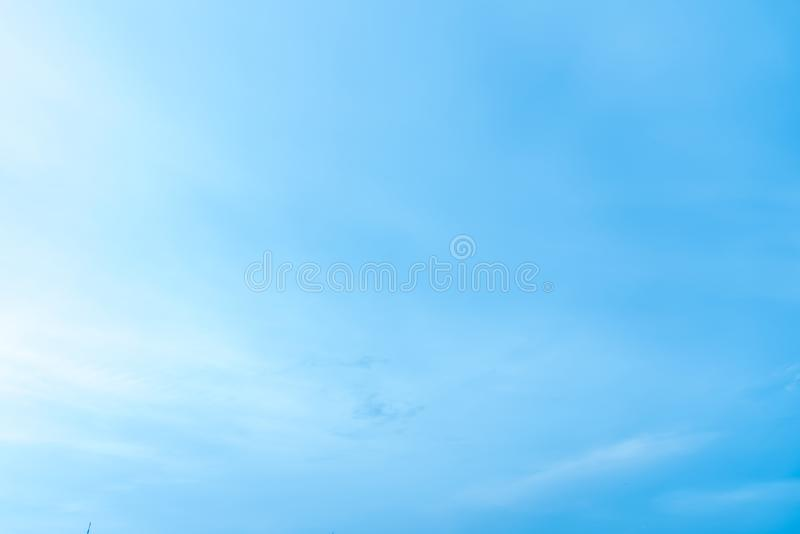 Blue sky and cloudy with lighting background in the morning. stock photography