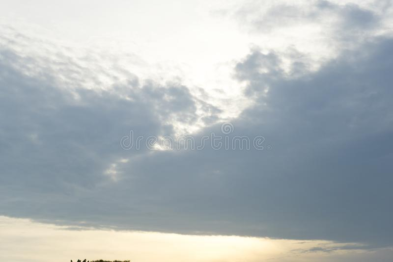 Blue sky color with clouds and sunset background stock images