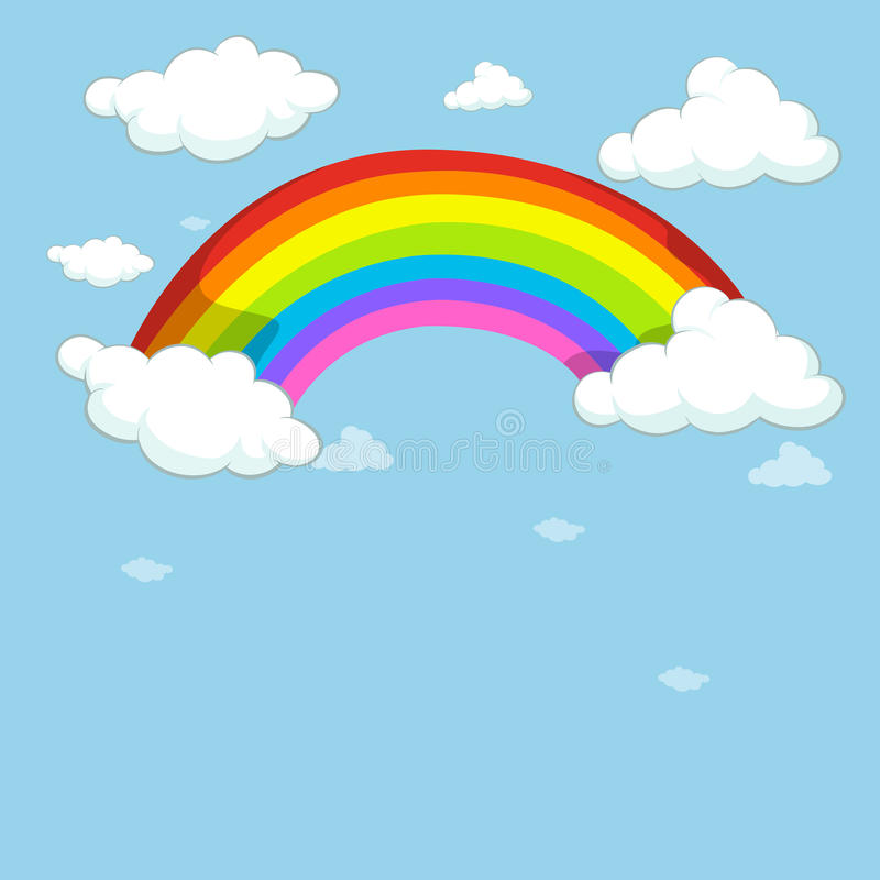 Download Blue Sky With Colorful Rainbow Stock Vector - Illustration: 82992514