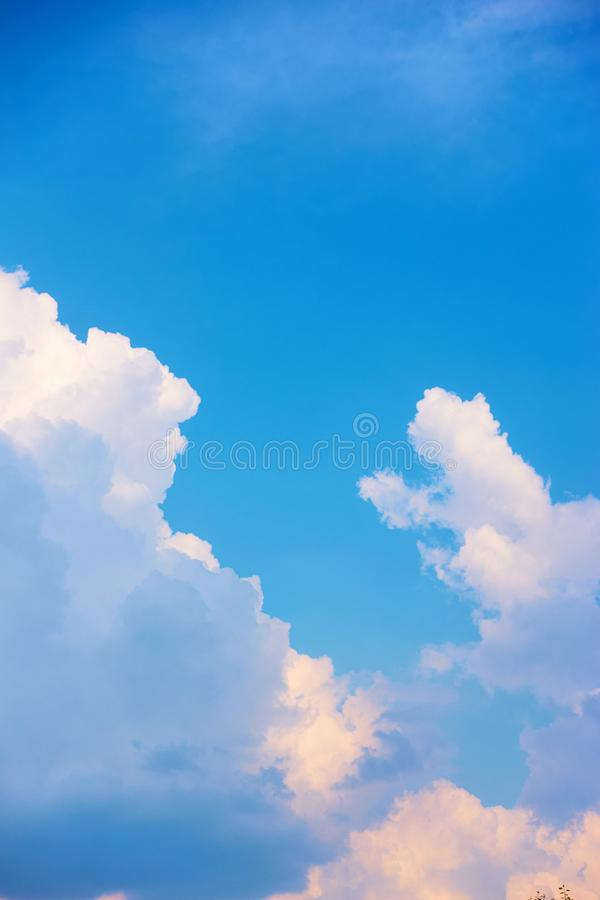 Blue sky with cumulus clouds royalty free stock image