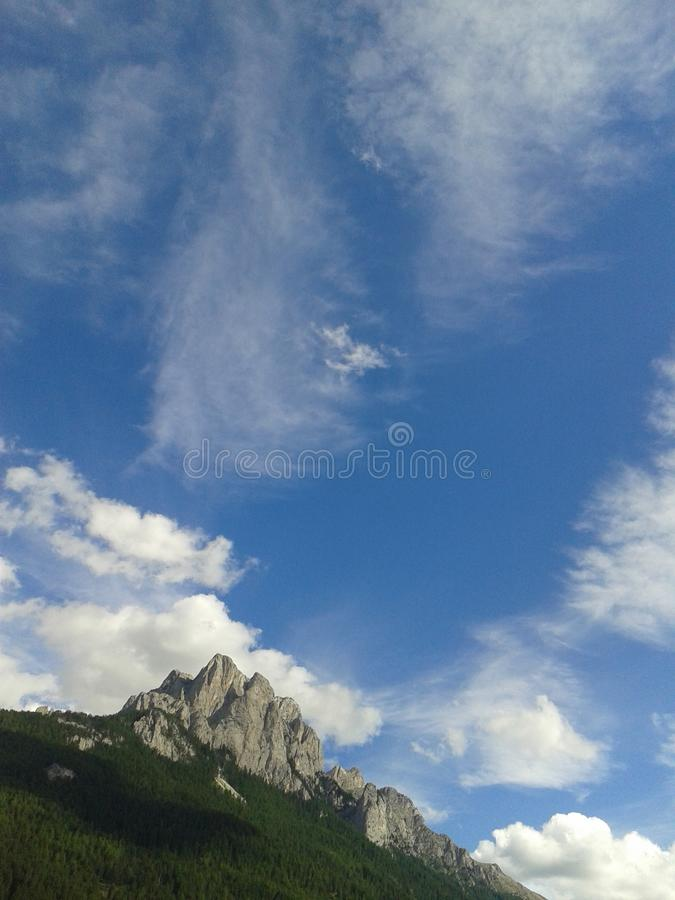 Blue sky in the Dolomites royalty free stock image