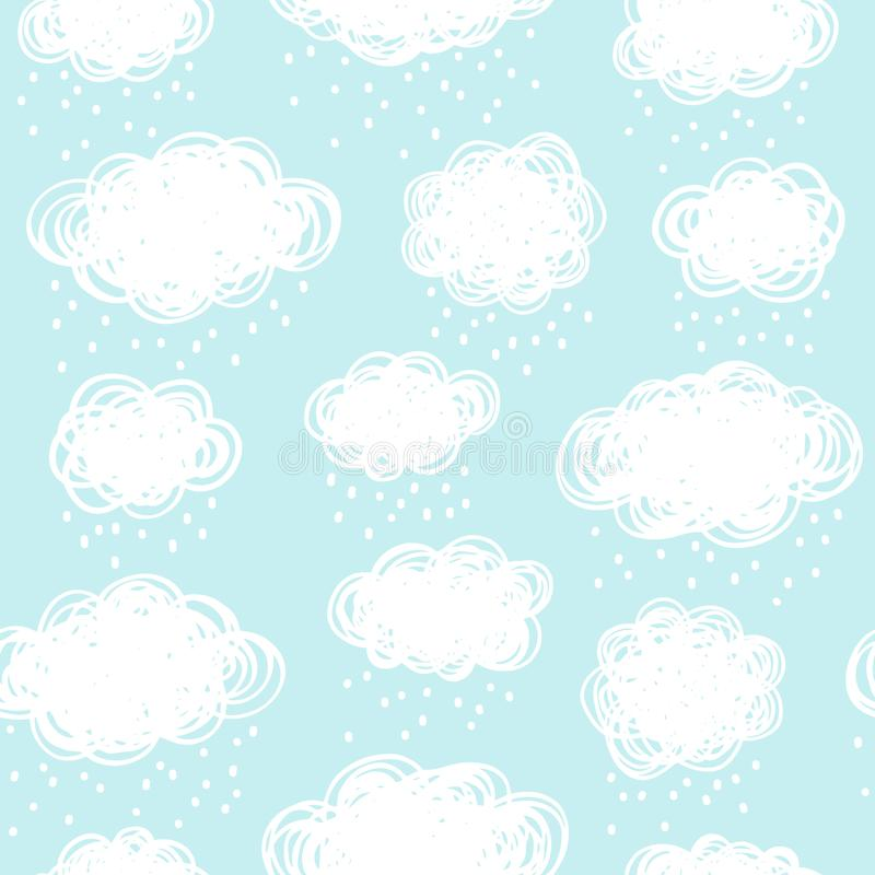 Blue sky with doodle style clouds and snow, rain drops vector illustration